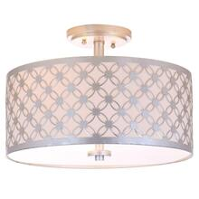 Hutch 3 Light 16-inch Dia Silver Flush Mount - Silver