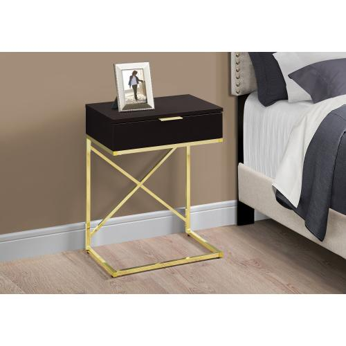 """Gallery - ACCENT TABLE - 24""""H / ESPRESSO / GOLD METAL"""