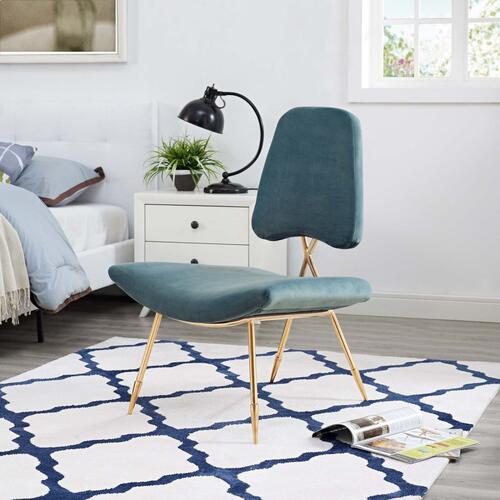 Ponder Performance Velvet Lounge Chair in Sea Blue