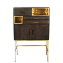 "See Details - Wood 60"" 3 Drawer, 2 Door Cabinet On Stand, Black"