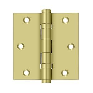 "Deltana - 3-1/2"" x 3-1/2"" Square Hinge, Ball Bearings - Polished Brass"