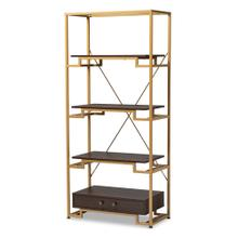 See Details - Baxton Studio Cerelia Modern and Contemporary Gold-Tone Steel and Dark Brown Finished Wood 3-Shelf Accent Bookcase with Drawer
