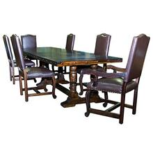 "!2' Lacquered table ""Serra Madre"" 12 foot Lacquered Pedestal Table with Leather Lacquered Chairs"