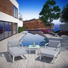 Fortuna 5 Piece Outdoor Patio Sectional Sofa Set in White Gray