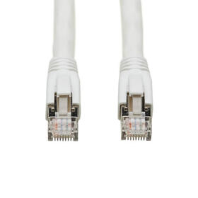 Cat8 25G/40G Certified Snagless Shielded S/FTP Ethernet Cable (RJ45 M/M), PoE, White, 10 ft.