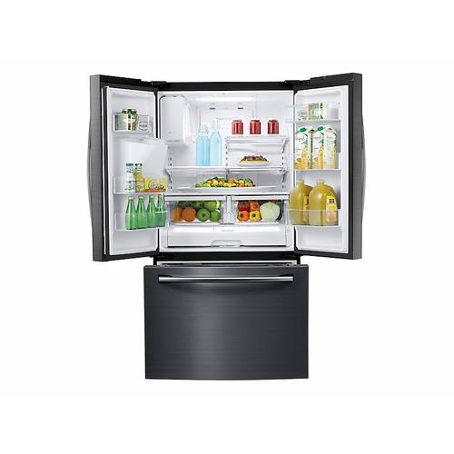 Samsung - 25 cu. ft. French Door Refrigerator with External Water & Ice Dispenser in Black Stainless Steel