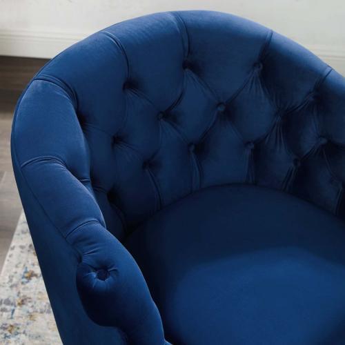 Precept Accent Performance Velvet Armchair in Navy