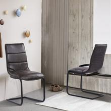 Armen Living Newark Contemporary Dining Chair in Grey Powder Coated Finish and Espresso Fabric - Set of 2