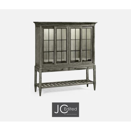Antique Dark Grey Glazed Display Double Cabinet