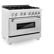 ZLINE 36 in. Professional 4.6 cu. ft. 6 Dual Fuel Range in DuraSnow® Stainless Steel with Brass Burners (RAS-SN-BR-36)