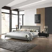 See Details - Legend 3 Piece Gray Fabric King Platform Bed and Nightstands Bedroom Set