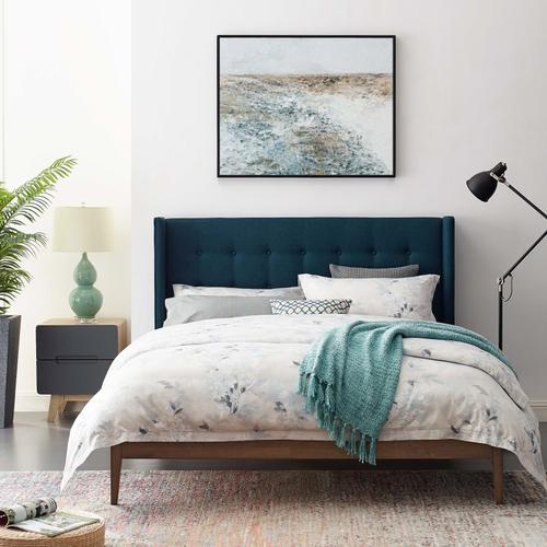 Modway - Hadley Queen Wingback Upholstered Polyester Fabric Platform Bed in Blue