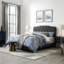 View Product - Amelia King Upholstered Fabric Bed in Gray