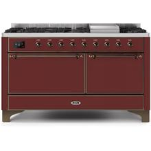 Majestic II 60 Inch Dual Fuel Natural Gas Freestanding Range in Burgundy with Bronze Trim