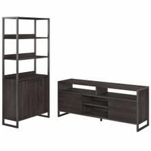 See Details - TV Stand and 5 Shelf Bookcase with Doors, Charcoal Gray