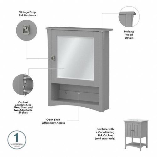 Salinas Bathroom Farmhouse Bathroom Storage Set with Cabinets, Mirror, Hamper and Shelf - Cape Cod Gray