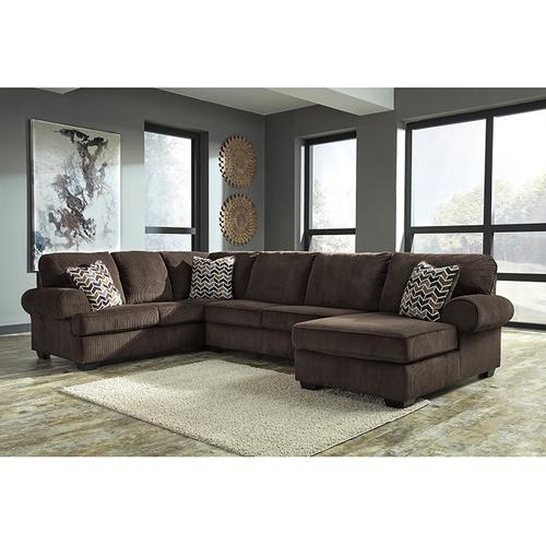 Signature Design by Ashley Jinllingsly 3-Piece Left Side Facing Sofa Sectional in Chocolate Corduroy [FSD-1949SEC-3LAFS-CHO-GG]
