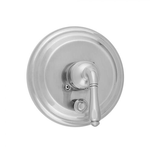 Satin Chrome - Round Step Plate With Smooth Lever Trim For Pressure Balance Valve With Built-in Diverter (J-DIV-PBV)