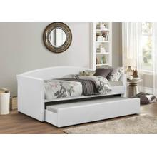 WHITE PU DAYBED W/ TRUNDLE