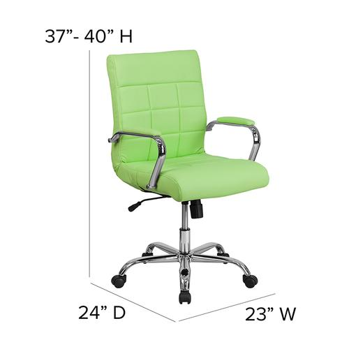 Gallery - Mid-Back Green Vinyl Executive Swivel Office Chair with Chrome Base and Arms