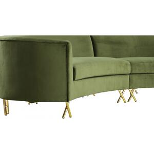"Serpentine Velvet 3pc. Sectional - 133"" W x 63.5"" D x 34.5"" H"