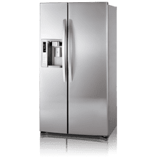 Side-By-Side Refrigerator with Ice and Water Dispenser (26.5 cu. ft.; Stainless Steel) (This is a Stock Photo, actual unit (s) appearance may contain cosmetic blemishes. Please call store if you would like actual pictures). This unit carries A ONE YEAR MANUFACTURER WARRANTY. REBATE NOT VALID with this item. ISI 37536 B