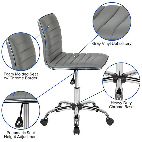 Gallery - Low Back Designer Armless Light Gray Ribbed Swivel Task Office Chair
