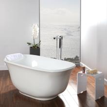 See Details - Free-standing soaking bathtub made of luster white acrylic with an overflow and polished chrome drain, net weight 84 lbs, water capacity 58 gal.