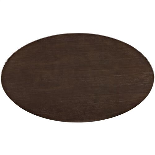 "Lippa 48"" Oval-Shaped Walnut Coffee Table in Walnut"