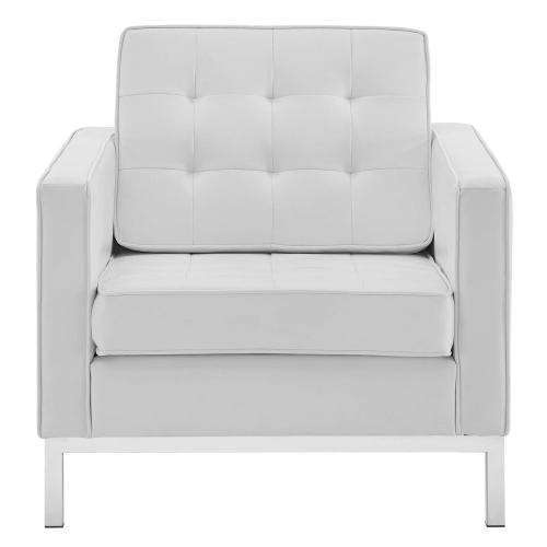 Loft Tufted Upholstered Faux Leather Armchair in Silver White