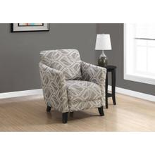ACCENT CHAIR - TAUPE LEAF DESIGN FABRIC