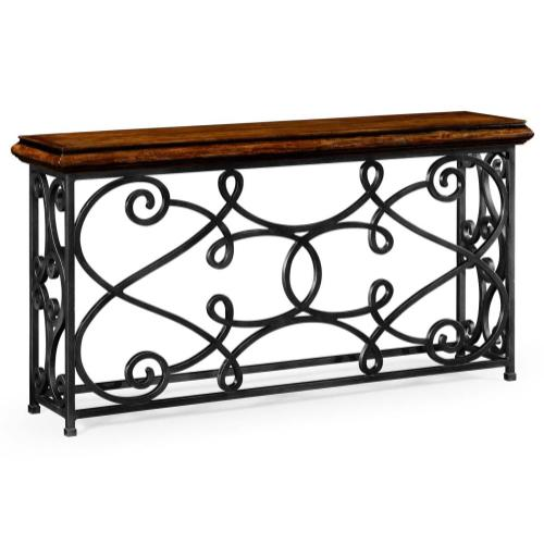Rectangular rustic walnut console with wrought iron base