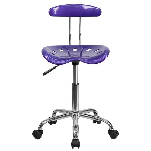 Flash Furniture - Vibrant Violet and Chrome Swivel Task Office Chair with Tractor Seat