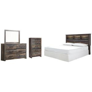 King/california King Bookcase Headboard With Mirrored Dresser and Chest
