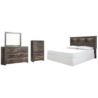 See Details - King/california King Bookcase Headboard With Mirrored Dresser and Chest