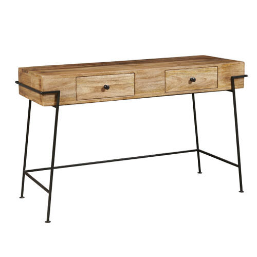 Two Drawer Butcher Block Style Wooden Desk
