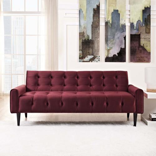 Modway - Delve Performance Velvet Sofa in Maroon