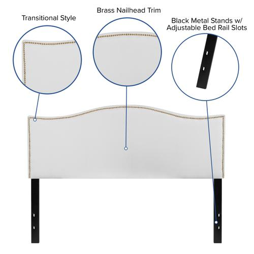 Flash Furniture - Lexington Upholstered Queen Size Headboard with Accent Nail Trim in White Fabric