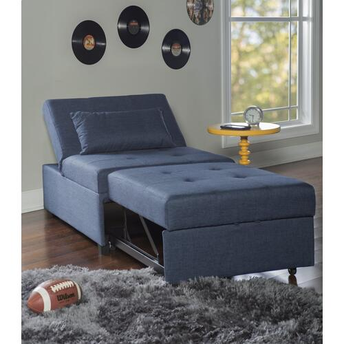 Tufted Fabric Convertible Twin Sofa Bed, Blue