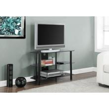 """See Details - TV STAND - 36""""L / BLACK METAL WITH TEMPERED BLACK GLASS"""