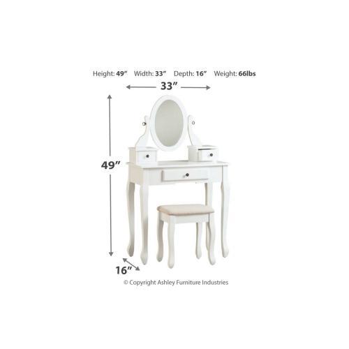 Kaslyn Vanity/Mirror/Stool (3/CN) Multi