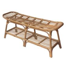 Damara Rattan Bench w/ Shelf, Canary Brown