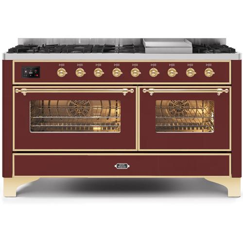 Gallery - Majestic II 60 Inch Dual Fuel Natural Gas Freestanding Range in Burgundy with Brass Trim