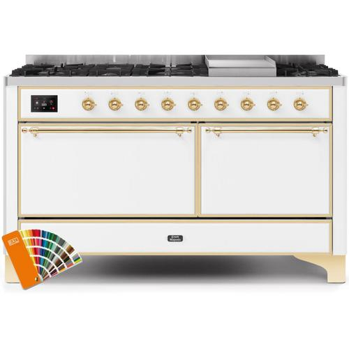 Majestic II 60 Inch Dual Fuel Natural Gas Freestanding Range in Custom RAL Color with Brass Trim