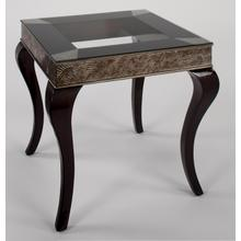 End Table with Glass 26x26x25""