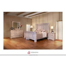 Terra Antique White Queen Bedroom Set: Queen Bed, Nightstand, Dresser & Mirror