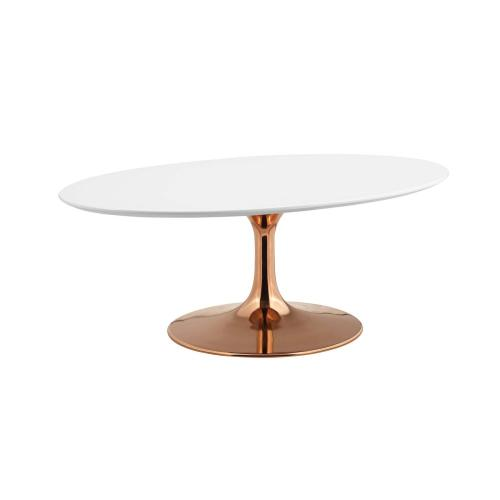 "Lippa 42"" Oval-Shaped Wood Top Coffee Table in Rose White"