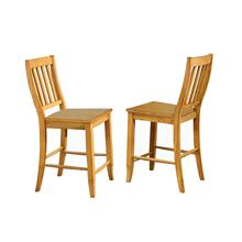 "DLU-B20-LO-2  School House 24"" Barstool  Counter Height Stool  Light Oak  Set of 2"