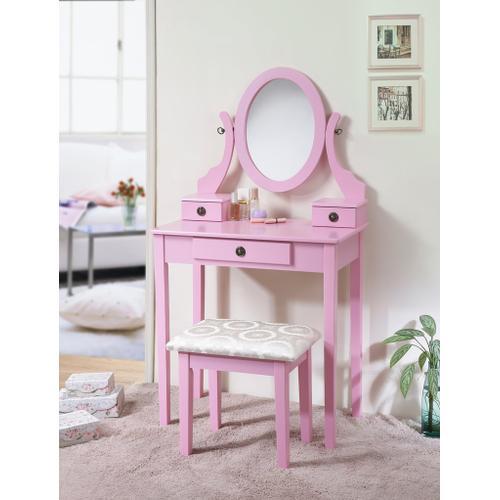 Round Hill Furniture - Moniya Pink Wood Makeup Vanity Table and Stool Set