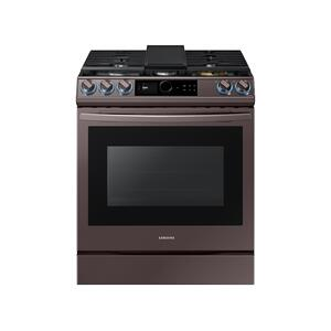 SAMSUNG6.0 cu. ft. Smart BESPOKE Slide-in Gas Range with Smart Dial & Air Fry in Tuscan Stainless Steel